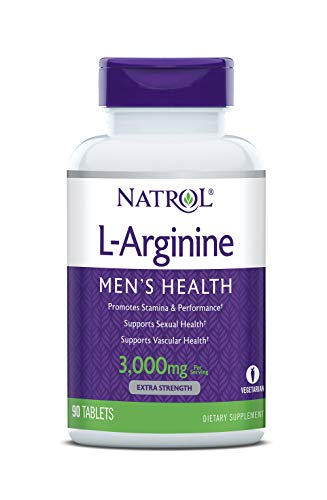 Natrol L-Arginine Tablets, Promotes Stamina and Performance, Supports Sexual and Vascular Health, Contains Nitric Oxide with B Vitamin Complex, Amino Acid, Extra Strength, 3,000mg, 90 Count ()