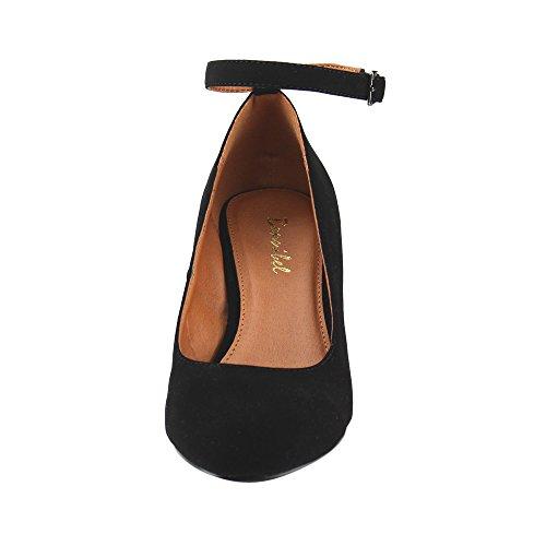 Pumps Block Strap Buckled Bonnibel Women's Heel Dress Black Ankle 76wtI0qx