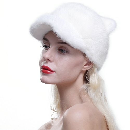 URSFUR Genuine Mink Fur Baseball Cap Soft Cat Ears Women Winter Hat White by URSFUR
