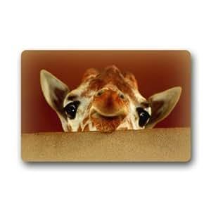 Generic máquina limpia tela superior y antideslizante Felpudo de goma resistente para interiores/exteriores Felpudo puerta esteras–Funny Cute jirafa cabeza Show diseño de regalo especial