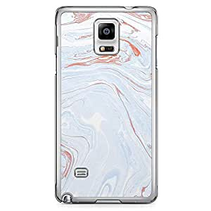 Samsung Note 4 Transparent Edge Phone Case Liquid marble Phone Case Liquid White Blue 2D Note 4 Cover with Transparent Frame
