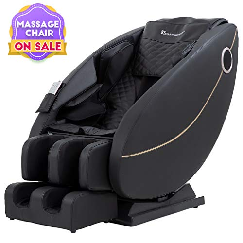 (BestMassage Zero Gravity Full Body Electric Shiatsu Massage Chair Recliner with Built-in Heat Foot Roller Air Massage System LSS-Track Stretch Vibrating Audio for Home Office, Black)