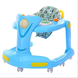 Baby Walker Easy to Fold 2 in 1 Seated Or Walk-Behind Position Baby Walker with Activity Tray Adjustable Seat Height Music Light Activity Walker Kids Toddlers Fun Toy Baby Walkers and Activity Center