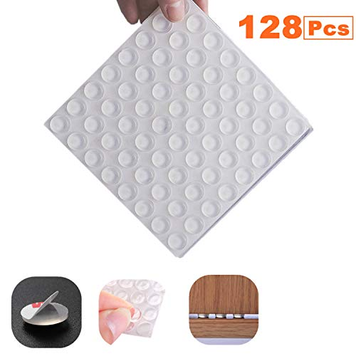 Rubber Bumpers Cabinet Door Bumper 128 Pieces Large Clear Adhesive Rubber Feet Pads Noise Dampening Buffer Dots for Door, Drawers, Picture Frame,Glass Non Slip