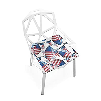Bardic HNTGHX Outdoor/Indoor Chair Cushion US Flag American Football Square Memory Foam Seat Pads Cushion for Patio Dining, 16