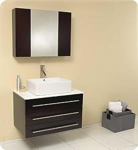 Espresso Modern Bathroom Vanity With Marble Countertop Fvn6183es X 19 5 D X 25 5 H