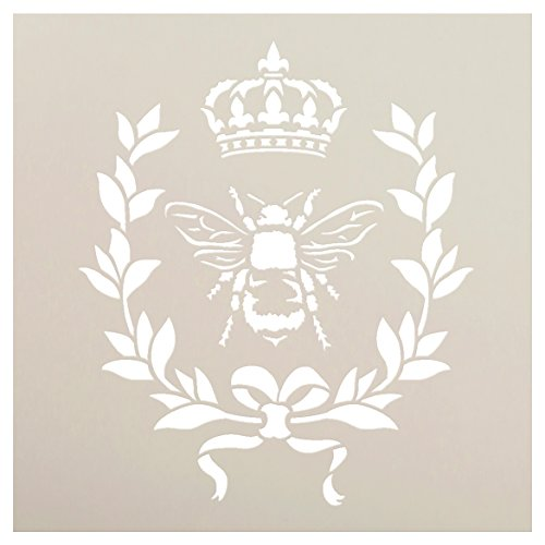 French Bee Stencil by StudioR12 | Crown, Laurel Wreath, Bee, French Country - Use with Chalky Paint for Furniture, Farmhouse & Home Wall Decor | STCL917_2 | SELECT SIZE
