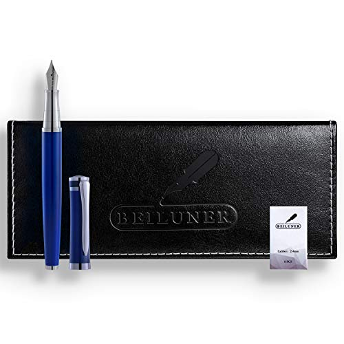 BEILUNER Luxury Fountain Pen Set, Solid Medium Nib, Stainless Steel Body - Includes 6 Ink Cartridges & Ink Refill Converter with Gift Case - Perfect for Men and Women(Mysterious Blue)