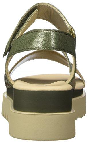 Gabor Ladies Jollys Sandali Con Cinturino, Nero Multicolore (platino / Oliva)