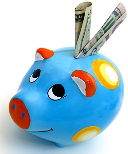 """Christmas gift, Ceramic Piggy Bank, Christmas gift, Lovely Nice Blue Color, size 8""""x5"""""""