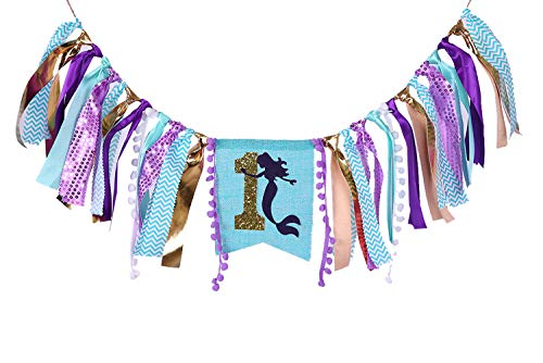 Highchair Banner For 1st Birthday Party - Mermaid Theme First Birthday Party Supplies, Burlap Highchair Banner For Baby Girl,1st Birthday Banner For Baby Shower (Mermaid Banner For 1st Birthday) -