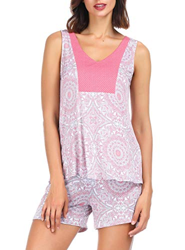 Ink+Ivy Shorts and Tank Top Pajama Set for Women, Summer Sleepwear Cute Loungwear, Raj Pink - Womens Ink