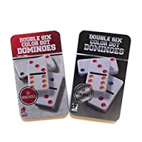 Golden J Store Double Six Color Dot Dominoes - Set of 28 Dominoes Game (2 Pack)