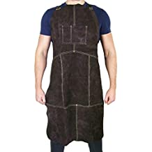 "Waylander Leather Welding Apron Flame Resistant Heavy Duty Bib 40"" Dark Brown with Adjustable Crossed Back Straps and Pocket"