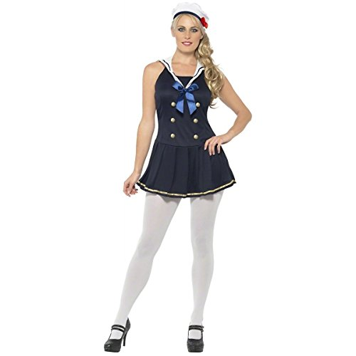Smiffy's Women's Sailor Girl Costume with Dress and Hat, Blue, Small -