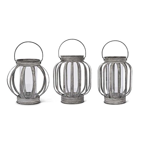 Band Hurricane Lamp - K&K Interiors Set of 3 Galvanized Tin Banded Farmhouse Modern Hurricane Candle Lantern Country For Table Top, Mantle, or Wall Hanging Display, Indoor & Outdoor Use