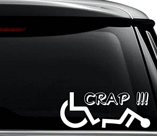 (Crap Wheelchair Fall Accident Funny Decal Sticker For Use On Laptop, Helmet, Car, Truck, Motorcycle, Windows, Bumper, Wall, and Decor Size- [6 inch] / [15 cm] Wide / Color- Matte Black)
