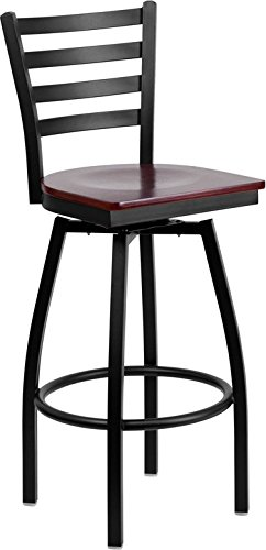 Barstool Black Ladder Back Swivel, Mahogany Wood Seat ()