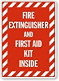"Fire Extinguisher And First Aid Kit Inside (with Graphic And Striped Border) Label, 5"" x 3.5"""