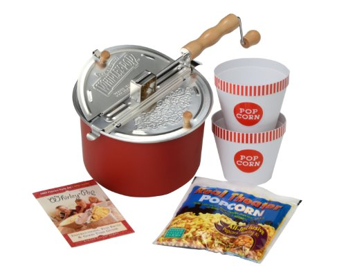 Original Whirley Pop Movie Night Popcorn Gift Set with Stovetop Popcorn Popper – Great Gift for Movie and Snack Lovers, Makes Perfect Popcorn in 3 Minutes