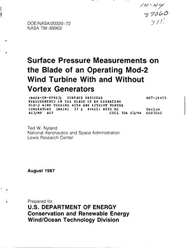 Surface pressure measurements on the blade of an operating Mod-2 wind turbine with and without vortex generators