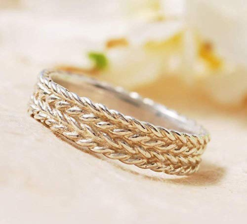 Impressive Unique Meaningful Braided Handmade Wrapped Sterling Silver 925 Matching Wedding Band Ring For Him Her Couples
