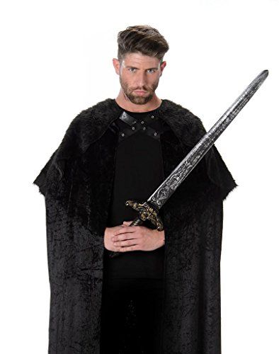 Black Faux Fur Cape Cloak, Adult Medieval Fantasy Costume for Halloween Cosplay -