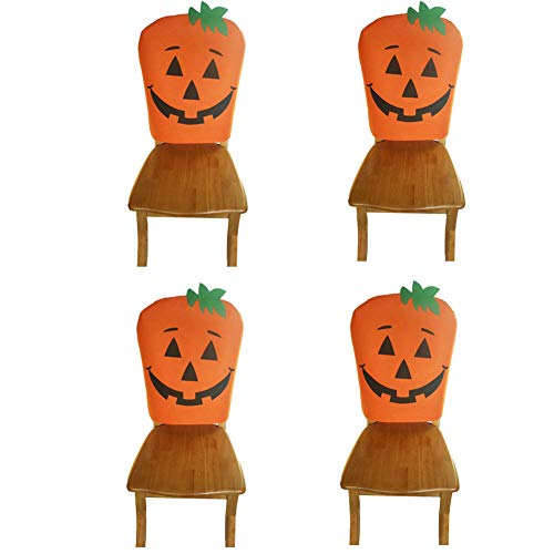 Deisy Dee Pack of 4 Halloween Holiday Fabric Pumpkin Chair Cover Ghost Festival Supplies Decoration Slipcovers C133