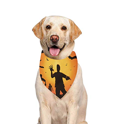 JTMOVING Dog Scarf Zombie Walking Out Grave Silhouettes Printing Dog Bandana Triangle Kerchief Bibs Accessories for Large Boy Girl Dogs Cats Pets Birthday Party Gift ()
