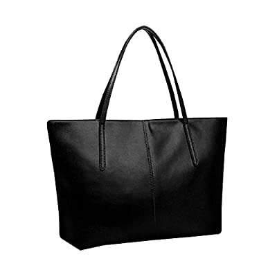 Women Handbag,Women Bag,KINGH Large Vintage PU Leather Simple Design Handbag 033 Black