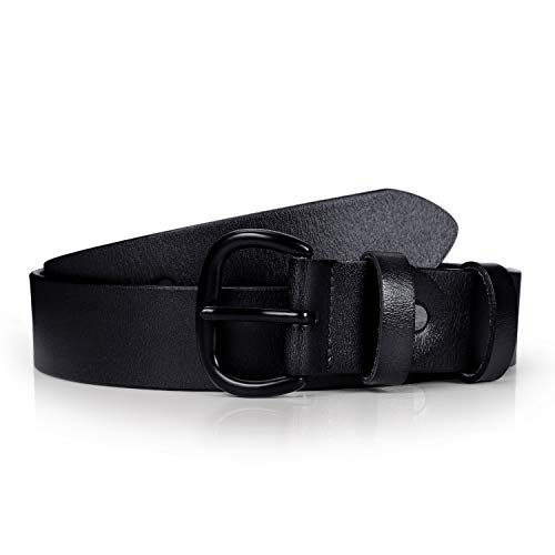 Fashion Black Leather Belt Soft Designer Retro Belt for Dress Jeans With Black Oval Pin Buckle