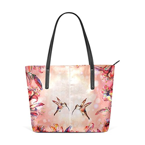 COOSUN Acuarela Colibríes Colibríes y las flores de la PU de cuero bolso monedero y bolsos de la bolsa de asas para las mujeres Medio muticolour