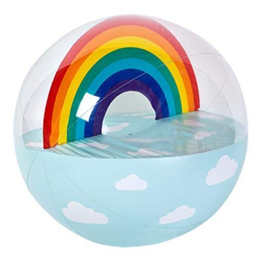 SunnyLIFE Classic Large Inflatable Round Beach Ball Summer Pool Toy - Rainbow Multi -