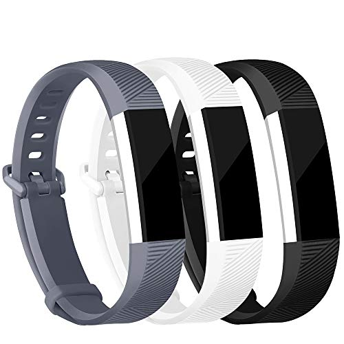 iGK Replacement Bands Compatible for Fitbit Alta and Fitbit Alta HR, Newest Adjustable Sport Strap Smartwatch Fitness Wristbands Black White Grey Large