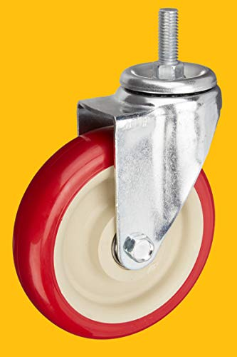 AmazonCommercial 5-Inch Stem Swivel PU Caster, Red, 4-Pack