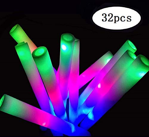 Yu'An Foam Glow Sticks Party Pack 32, Multicolor LED Light Up Sticks Toys with 3 Flashing Modes for Party Supplies Favors Festivals Birthday Wedding Christmas (32pcs Glow Sticks)]()