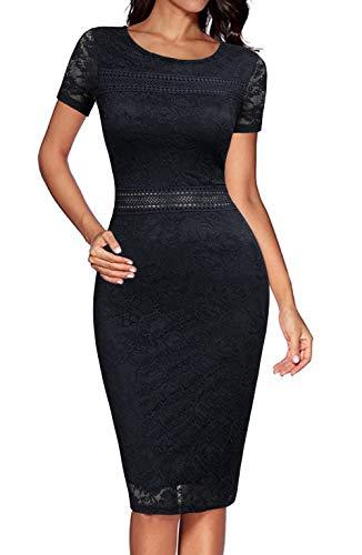 REPHYLLIS Women's Short Sleeve Elegant Lace Bodycon Pencil Party Cocktail Dress Black M Black Stretch Lace Dress