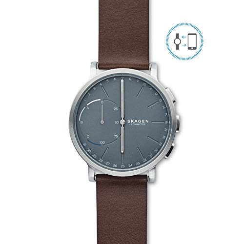 Skagen Connected Men's Hagen Stainless Steel and Leather Hybrid Smartwatch, Color: Silver-Tone, Dark Brown (Model: SKT1110) ()