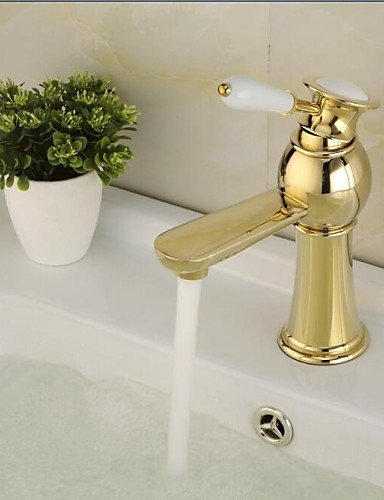 Contemporary Ti-PVD Finish Single Hole Single Ceramic Handle Bathroom Sink Faucet