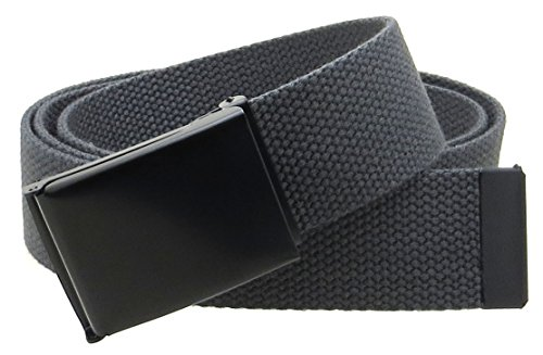 "Canvas Web Belt Flip-Top Black Buckle/Tip Solid Color 50"" Long 1.5"" Wide (Charcoal)"