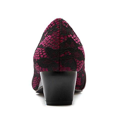 af51755a COOLCEPT Mujer Clasico Tacon Medio Punta Redonda Comodo Vestido Bombas Zapatos  Boca Baja Zapatos Vino Rojo