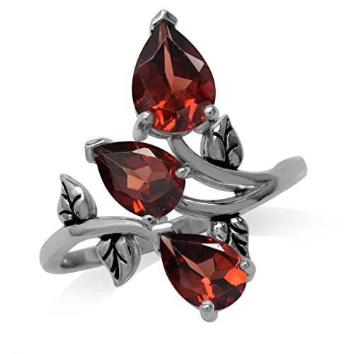 (2.85ct. Natural Garnet 925 Sterling Silver Bypass Leaf Ring Size 11)
