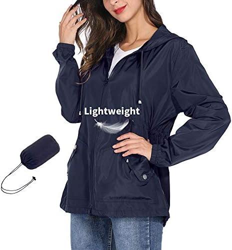 ZEALOTPOWER Windbreaker Women Jacket with Hood Lightweight Zip-up Packable Raincoat