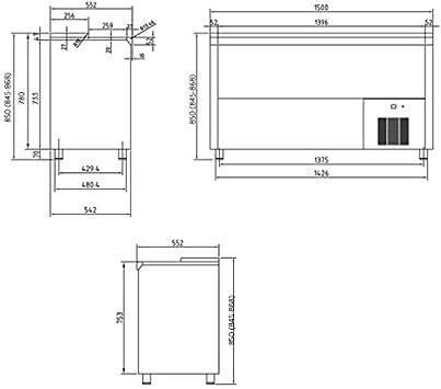 Botellero refrigerado industrial INOX 1,5 m - Maquinaria Bar Hostelería: Amazon.es: Hogar