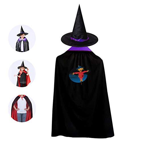 (69PF-1 Halloween Cape Matching Witch Hat Scarecrow Blue Light Wizard Cloak Masquerade Cosplay Custume Robe Kids/Boy/Girl Gift)