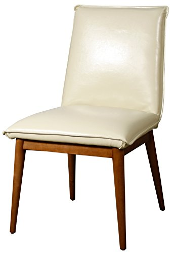 New Pacific Direct Lara Mid Mod Bonded Leather Chair,Brown Legs,Ivory,Set of 2