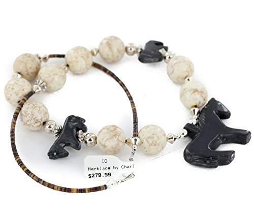 FETISH $280 Retail Tag Authentic Horse Navajo Made by Charlene Little Silver White Agate Native American Necklace