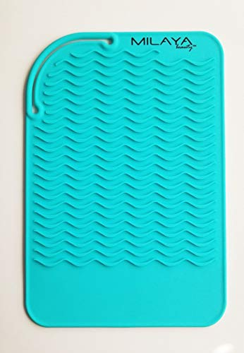 - Professional Silicone Heat Resistant Styling Station Mat for All Hair Irons, Curling Iron, Straightener Pad, Iron Flat Hair, Waver, Hair Styling Tools Appliances Salon Tools Hair Stylist (Turquoise)
