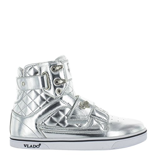 VLADO Footwear Men's Atlas Metallic Silver High Top Sneaker US 10