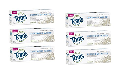 Tom's of Maine Luminous White Whitening Natural Toothpaste, Spearmint, 4.7 Ounce, 6 Count